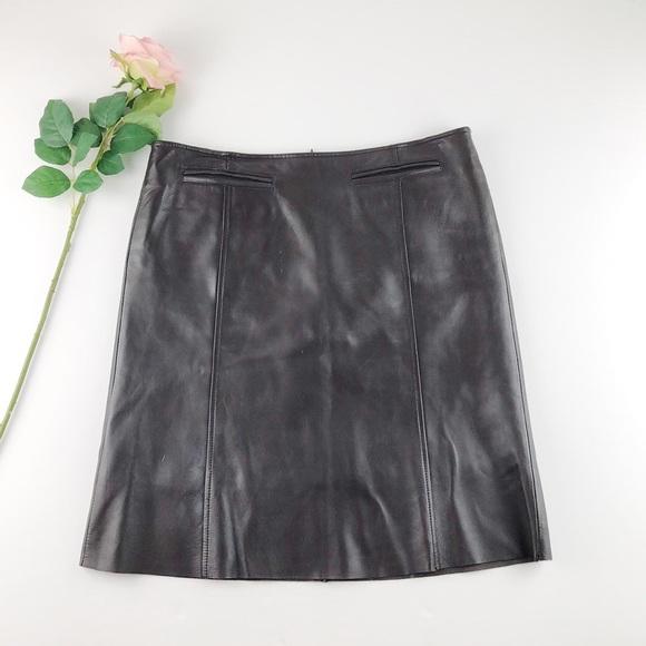 Vintage Dark Brown Leather Skirt Sz 8
